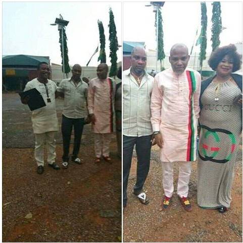 Nnamdi Kanu Poses With Friends As He Is Freed From Kuje Prison In Abuja (Pics, Video)