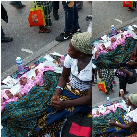 Woman Who Gave Birth To Triplets Begs In Port-Harcourt. Photos