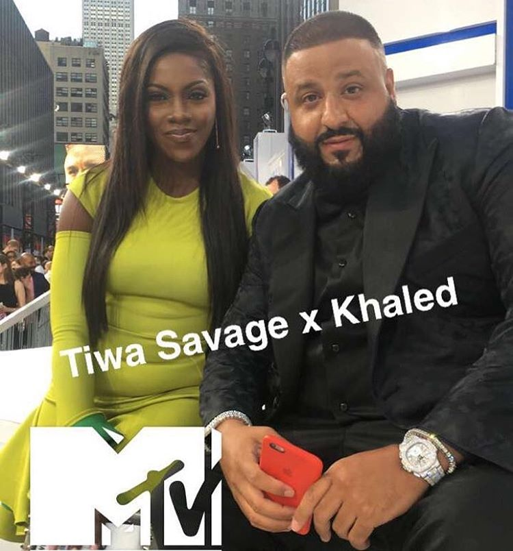 Nigerian and Mavin Act Tiwa Savage picture with Veteran D.J, DJ Khaled