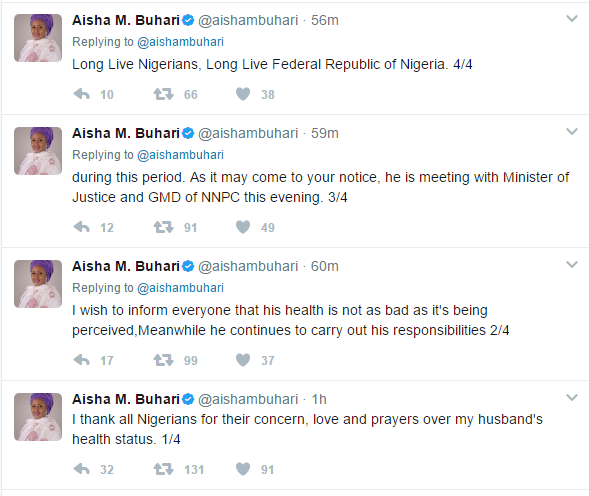 Buhari's Health Not As Bad As It Is Percieved-Aisha Buhari