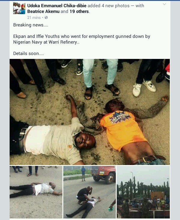 Navy Officials Kill Jobs Seekers At Warri Refinery (Graphic Photos)