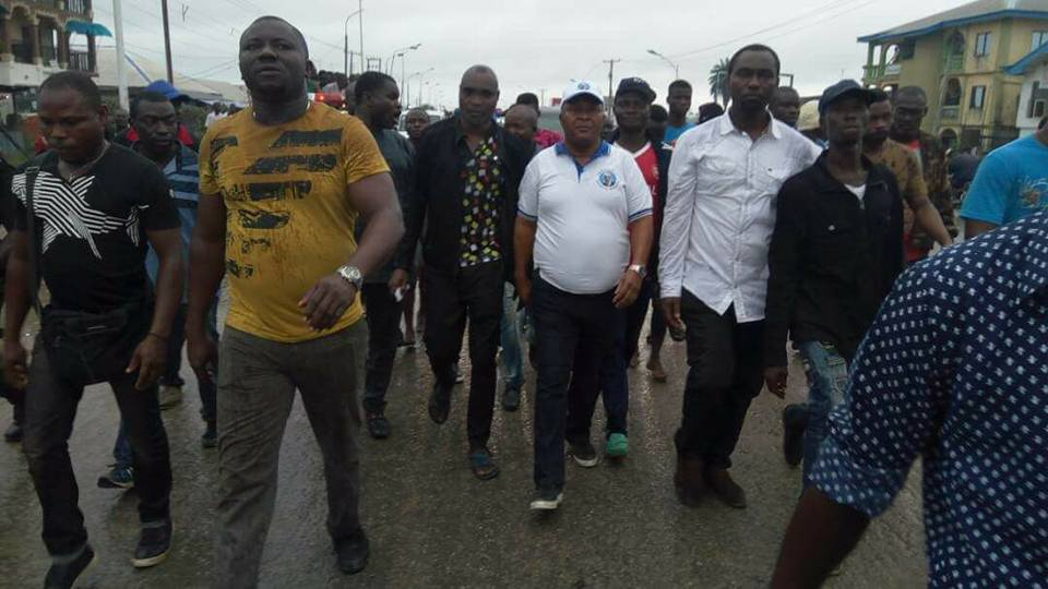 Photos Of Sacked Delta Speaker Leading Thugs To Chase Governor Okowa From Sapele