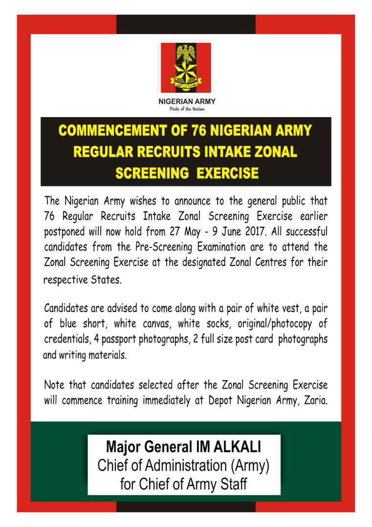 76 Nigerian Army Regular Recruit Intake Form Out  Wish All