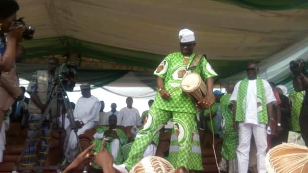 Fayose Plays Drum At The Lying-In-State Of Adebayo (Photos)