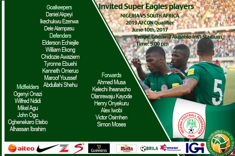 List Of Invited Super Eagles Player For South Africa Match