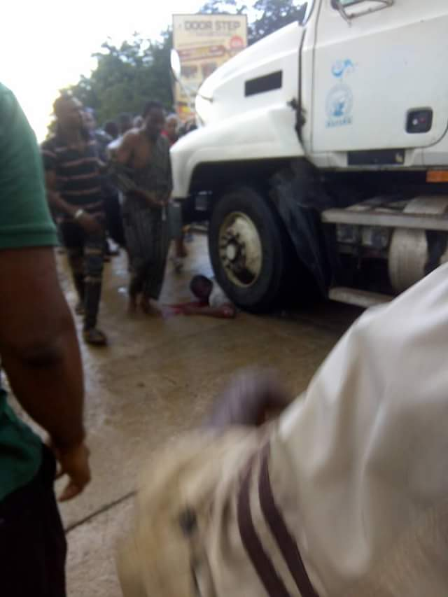 Truck Driver Rams Into Okada Rider In Onitsha, Kills Him On Spot (Graphic Pics)