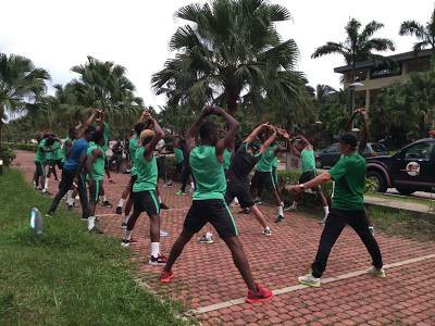Super Eagles Arrive In Uyo, Train Ahead Of Their AFCON 2019 Qualifier (Pictures)