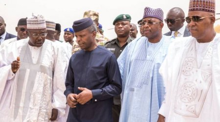 Image result for Acting President Osinbajo visits Maiduguri to launch relief plans for IDPs