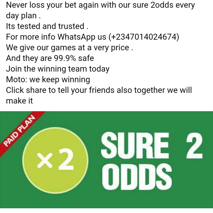 Paid Sure 2odds Each Day 100% Safe And Sure - Investment - Nigeria