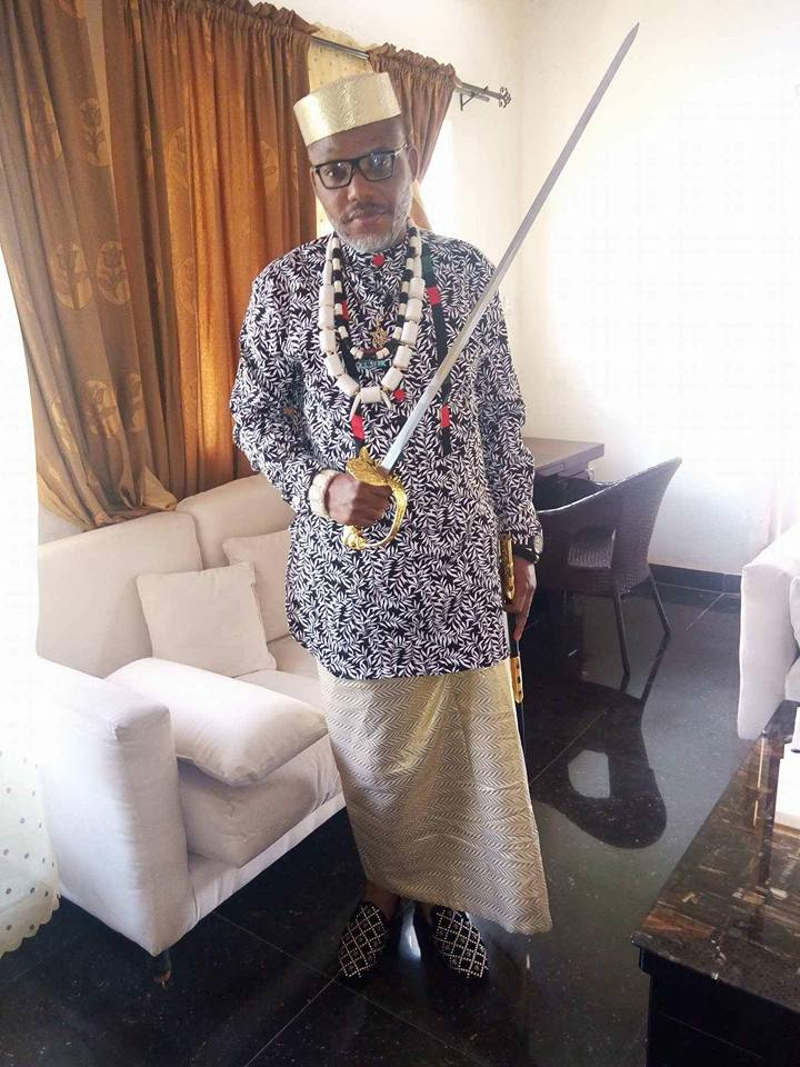 See What Nnamdi Kanu Was Doing With His Royal Sword At His Residence In Abia State [Photos]