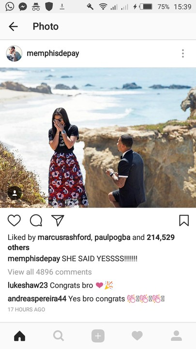 How Romantic! Football Star Memphis Depay Just Proposed To His Long Term Girlfriend (photos)