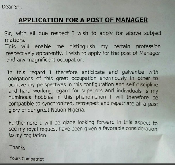 Writing a job application letter in nigeria
