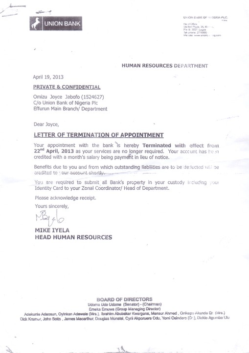 Alleged Forged Letter Of Termination Appointment By Union Bank ...
