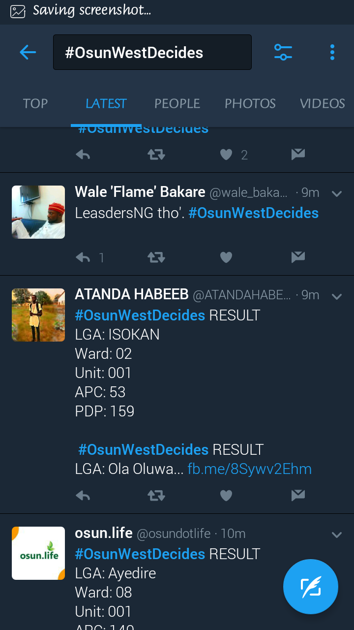 osun west senatorial bye election results unofficial politics
