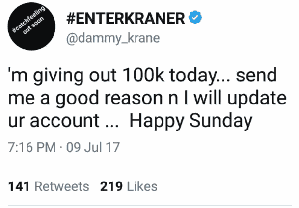 dammy krane gives out n100 000 on twitter - celebrities
