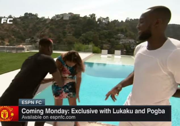 Manchester United Star Pogba Pushes Journalist Into Swimming Pool