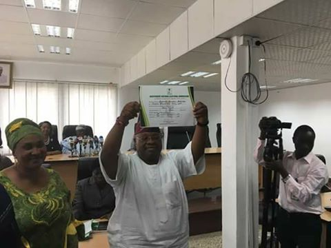 Photo: Ademola Adeleke Receives His INEC Certificate Of Return