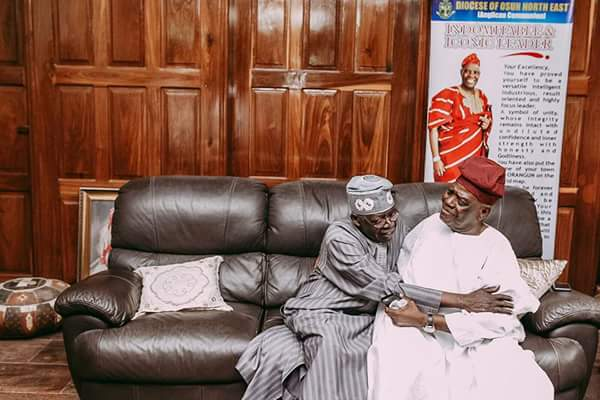 Bola Tinubu On Condolence Visit To Bisi Akande Over The Death Of His Wife