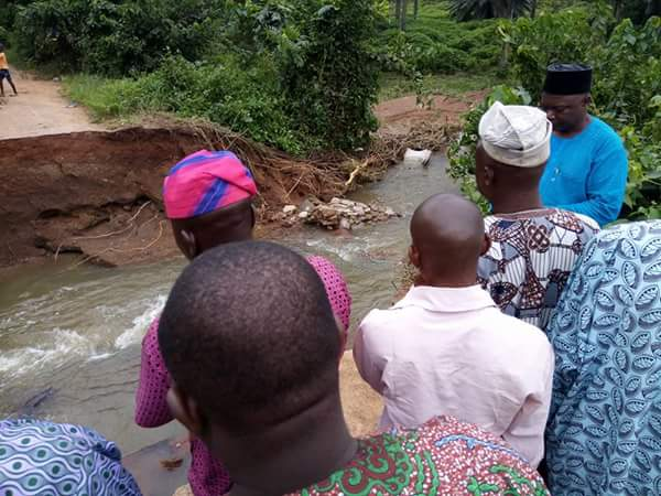 PHOTOS: Bridge That Links Osun And Oyo Collapses After Heavy Rainfall