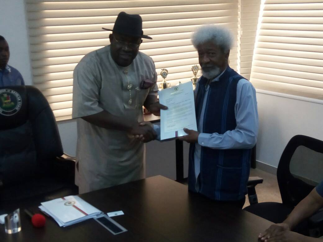 Image result for Gov. Dickson honurs Soyinka as Bayelsa Education Ambassador