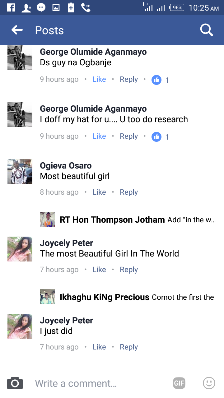 Facebook Band Use Of Most Beautiful Girl In The World As Comment