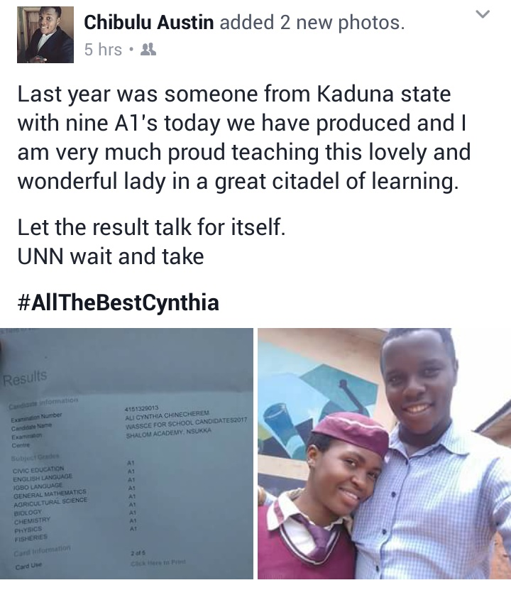 Shalom Academy, Nsukka Student Makes 9 A1s In The Just Released WAEC (Pictures)