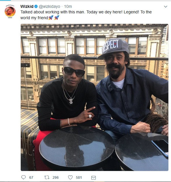 ... a jam with Bob Marley's son Damian Marley. He (Wizkid) tweeted a photo of him and Damian and announced that we should be expecting a collaboration soon.