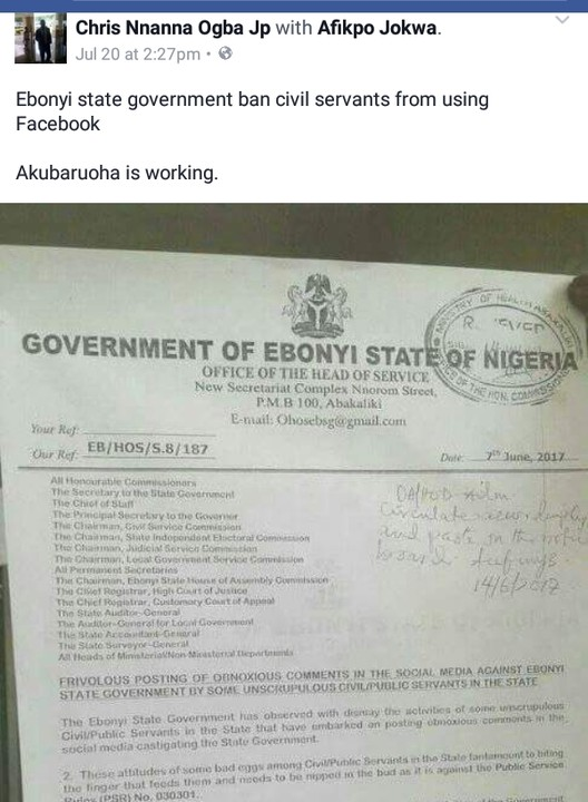 Ebonyi State Government allegedly bans Civil Servants from using Facebook! (photos)