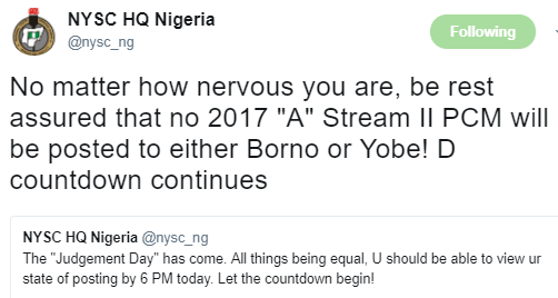 "No Batch ""A"" Stream II Corps Will Be Posted To Borno Or Yobe States"