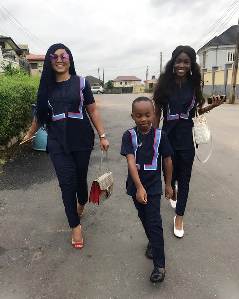 Mercy Aigbe And Her Kids Michelle And Juwon Slay In Same Native Wear