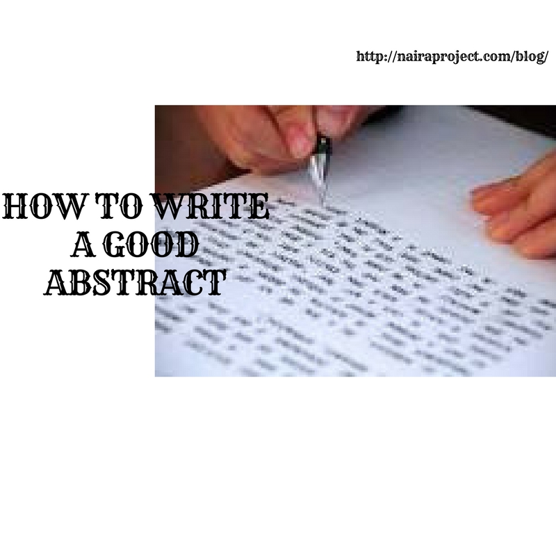 how to write a good abstract for a paper