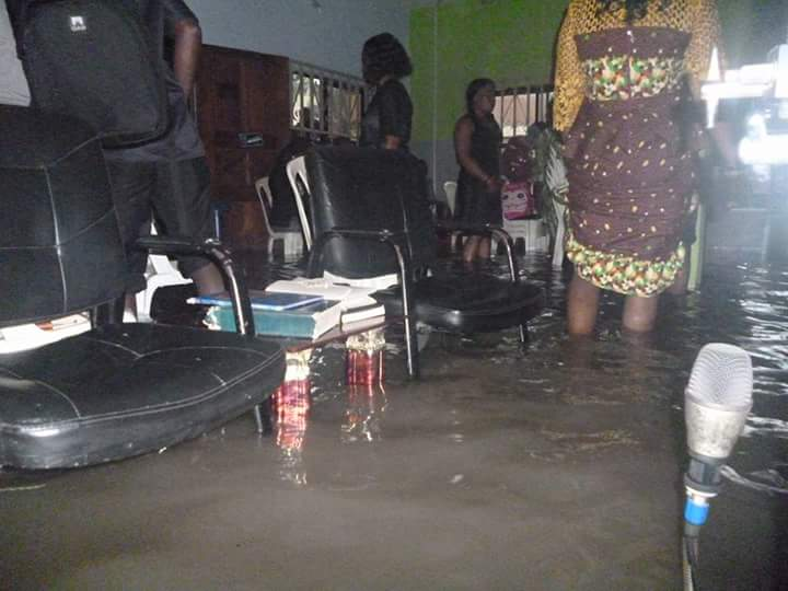 Members Gather To Worship God In Their Flooded Church Building(see Pictures)