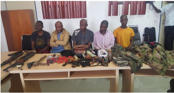 Suspected Kidnappers Of Yahaya Bello's Mother Paraded (Photos)