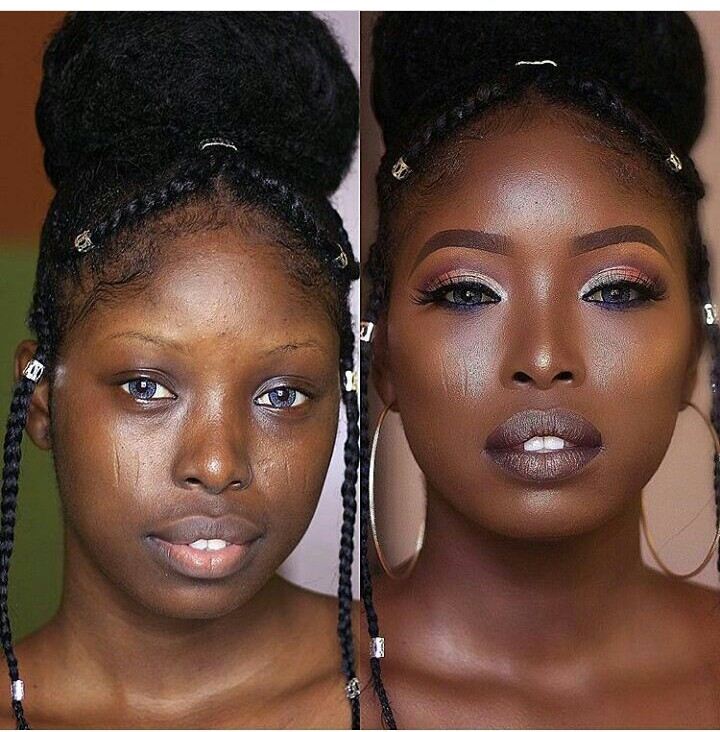 Image result for BEFORE AND AFTER MAKEUP ON BLACK FACE