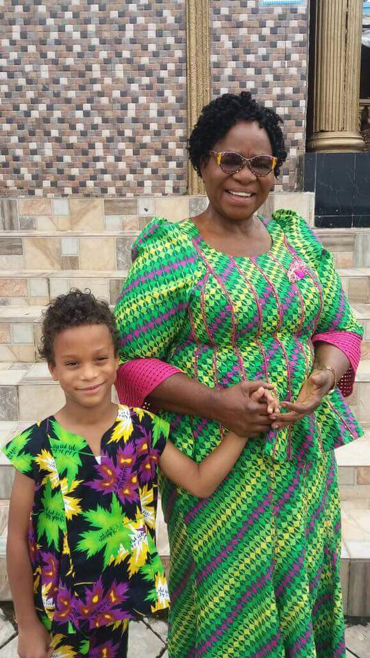 Fayose's Mother Steps Out With His Son, Oyinbo Daughter-In-Law & Grandson (Pics)