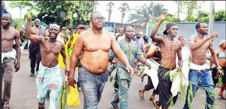 Lagos Men & Women Go Topless To Protest Against Local Government Election (Photos)