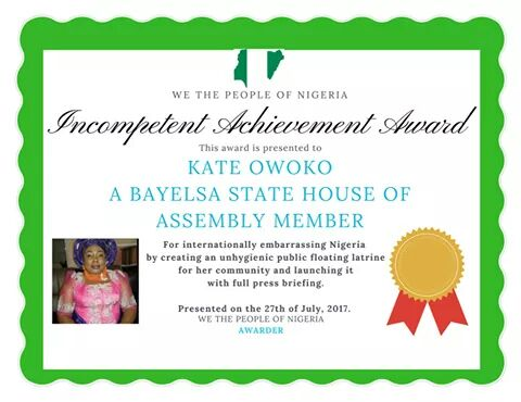 Check Out Aroms Aigbehi's Incompetency Award To Bayelsa Lawmaker (Photos)