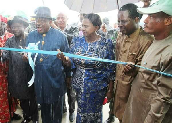 Photos Of Wike's Body Soaked With Water While Commissioning Projects Today