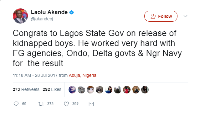 Lagos State Government Takes Credit For Released Kidnapped Kids, Nigerians React