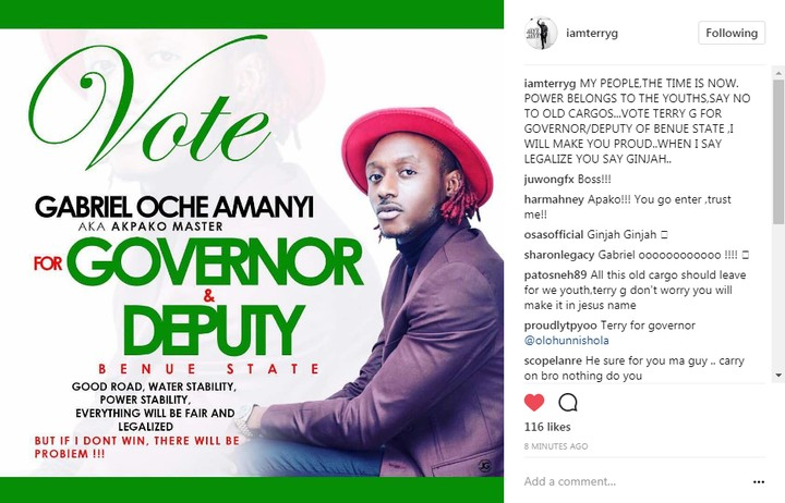 Terry G joins Benue State Gubernatorial race