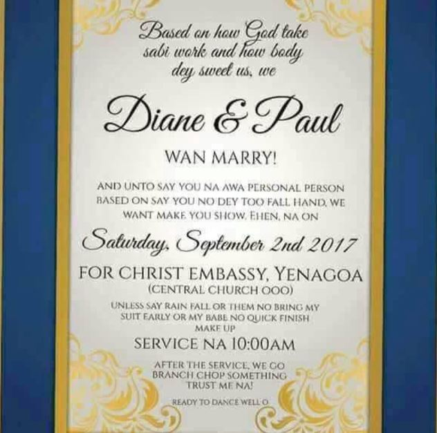 Check Out This Wedding Invitation Written In Pidgin English