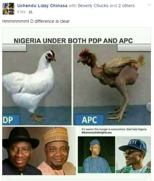 Lady Compares Nigeria Under PDP And APC On Facebook