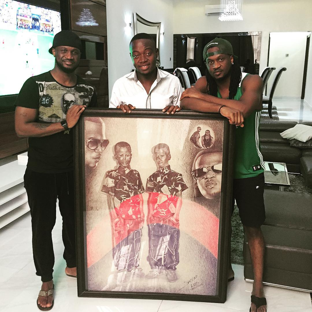 Fan Gifts P'Square Artwork Of Their Childhood Photo