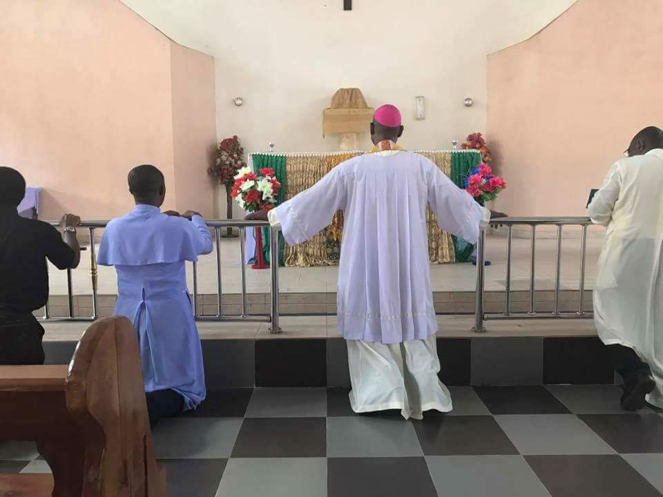 Bishop of Nnewi sanctifying Ozubulu Catholic Church as they open again for services