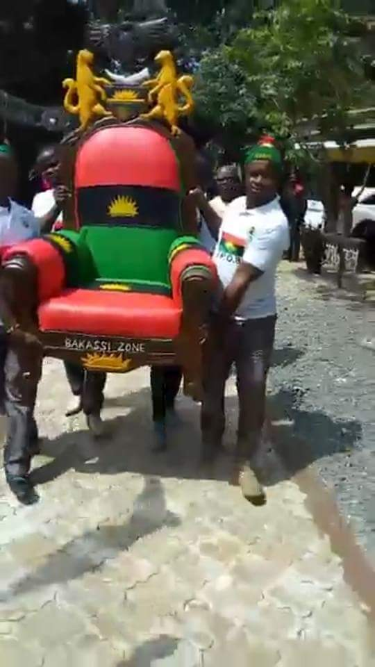 IPOB Bakassi Zone Donates Royal Chair To Nnamdi Kanu (Photo)