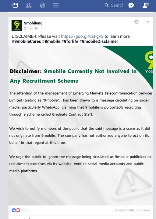 DISCLAIMER: 9mobile Is Not Currently Recruiting - Jobs/Vacancies