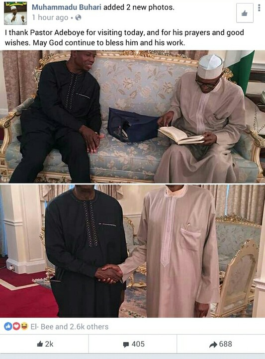 Nigerians Reacts To Pastor Adeboye Visiting Buhari In London (photos)