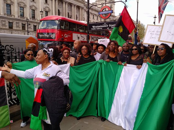 "Nigerians Hold Vigil In Front Of Abuja House, London, Chant ""Buhari Go Home"" (Video)"