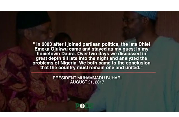 "Buhari: ""Ojukwu Visited Me In 2003 & We Agreed That Nigeria Must Remain One"" (PHOTO)"