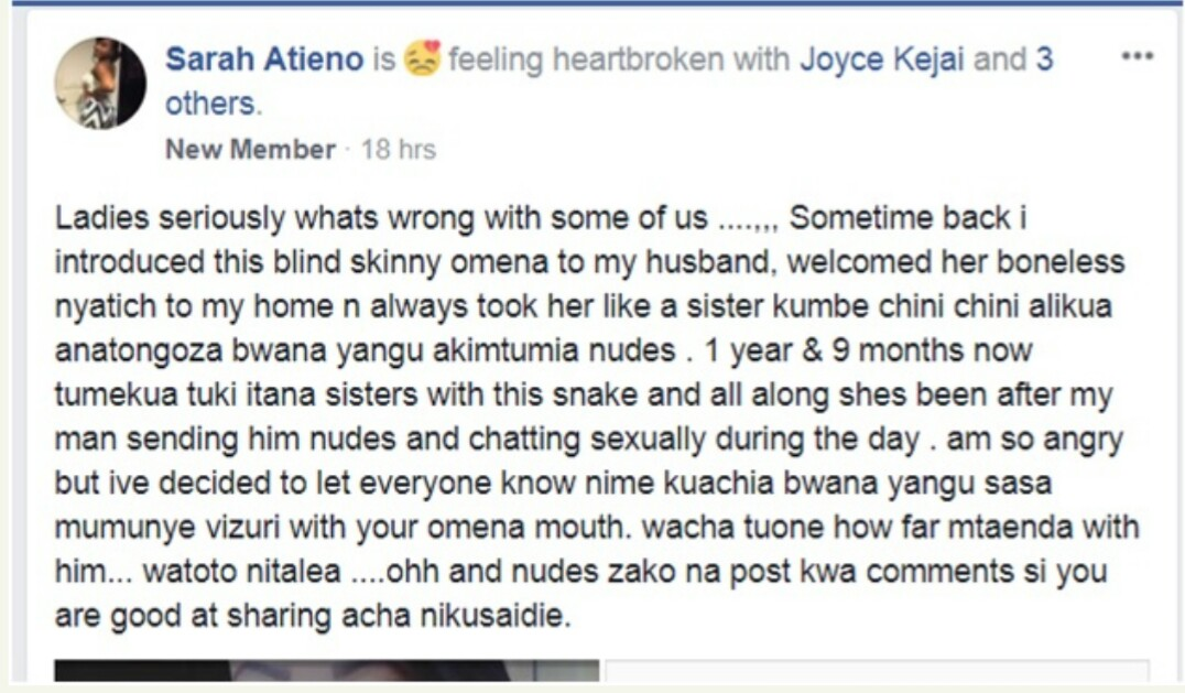 SHAME!!! : Lady Exposes Her Best Friend Who Has Been Having S*ex With Her Husband (photos)